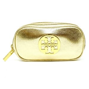 TORY BURCH~mirror crinkle~COSMETIC CASE~LEATHER